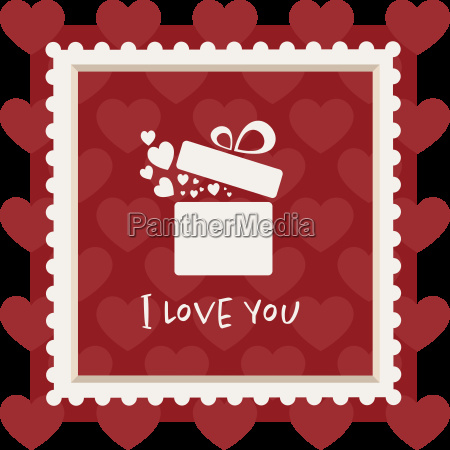 valentines card with a gift in