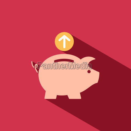 piggy bank icon on red background