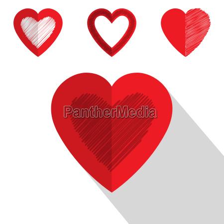 valentine day heart icon flat design