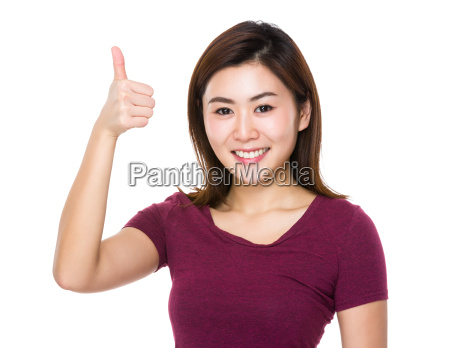 asian woman with thumb up