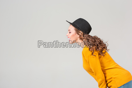 the, profile, of, girl, in, hat - 20098570