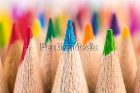 macro shot of color pencil nibs