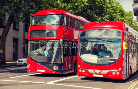 city street with red double decker