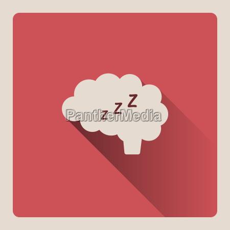brain thinking in sleep illustration on