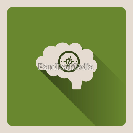 guided brain illustration on green background
