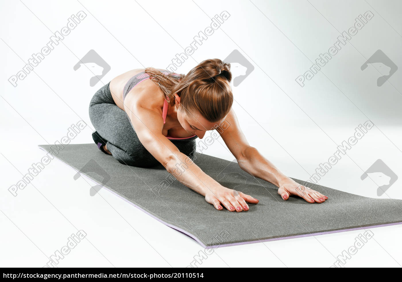 beautiful, slim, brunette, doing, some, stretching - 20110514