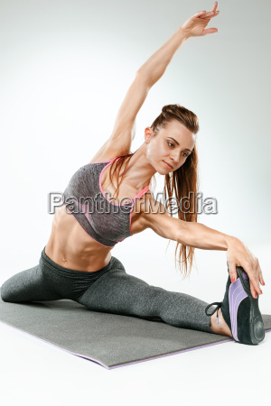 beautiful, slim, brunette, doing, some, stretching - 20110600