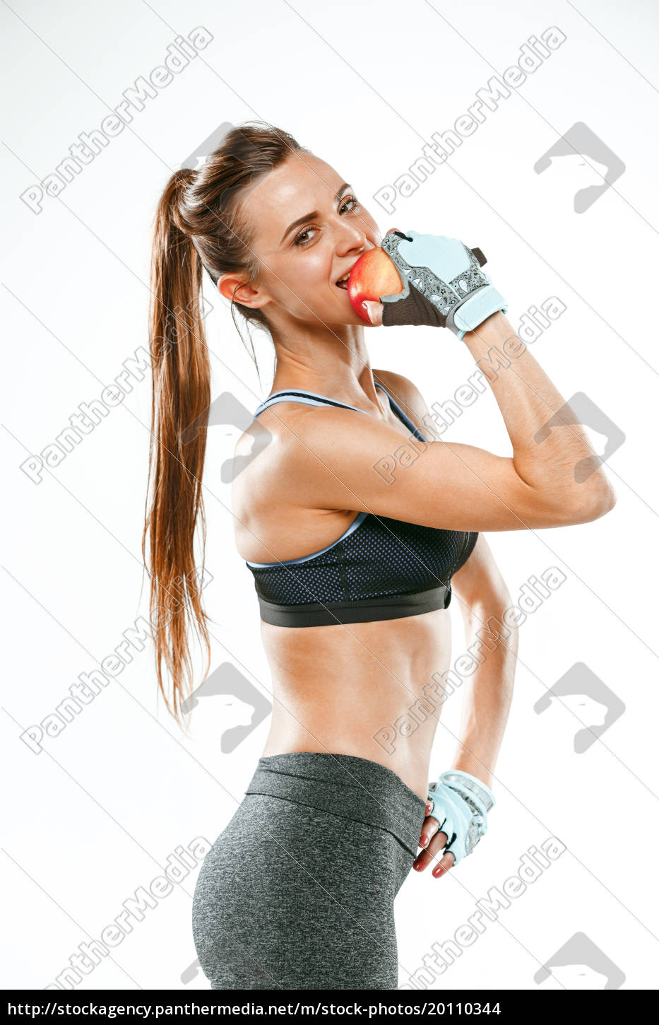 muscular, young, woman, athlete, on, white - 20110344