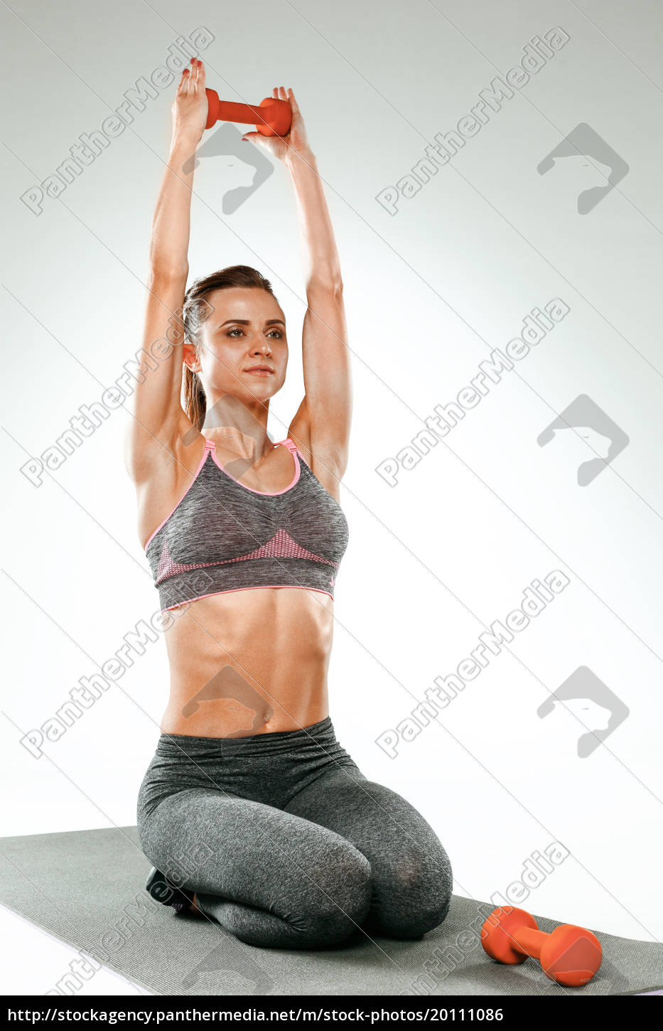 beautiful, slim, brunette, doing, some, stretching - 20111086