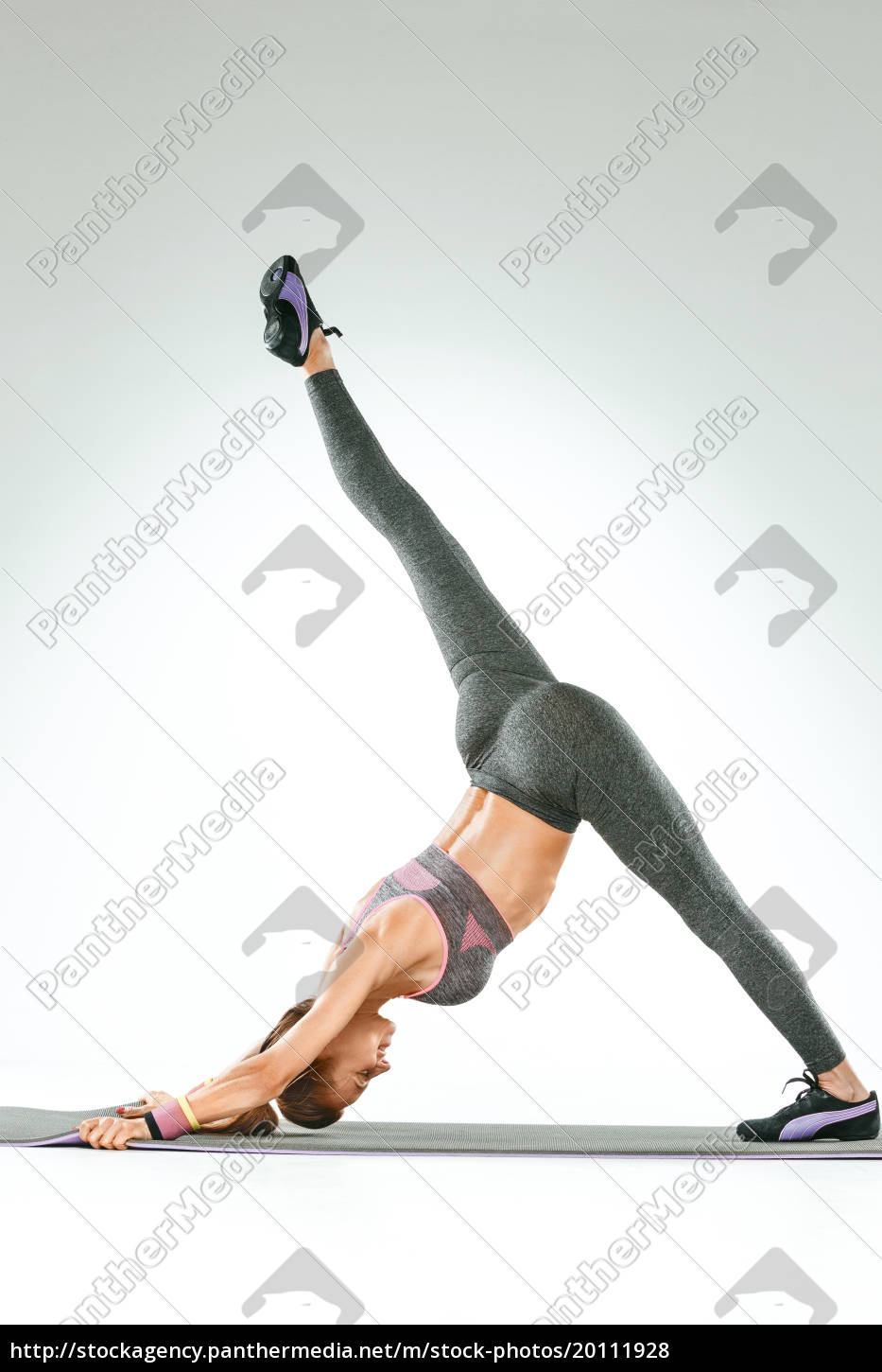 beautiful, slim, brunette, doing, some, stretching - 20111928