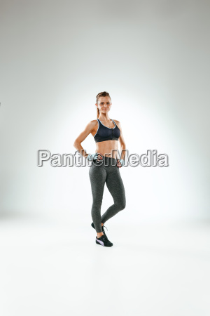 muscular, young, woman, athlete, on, white - 20111994