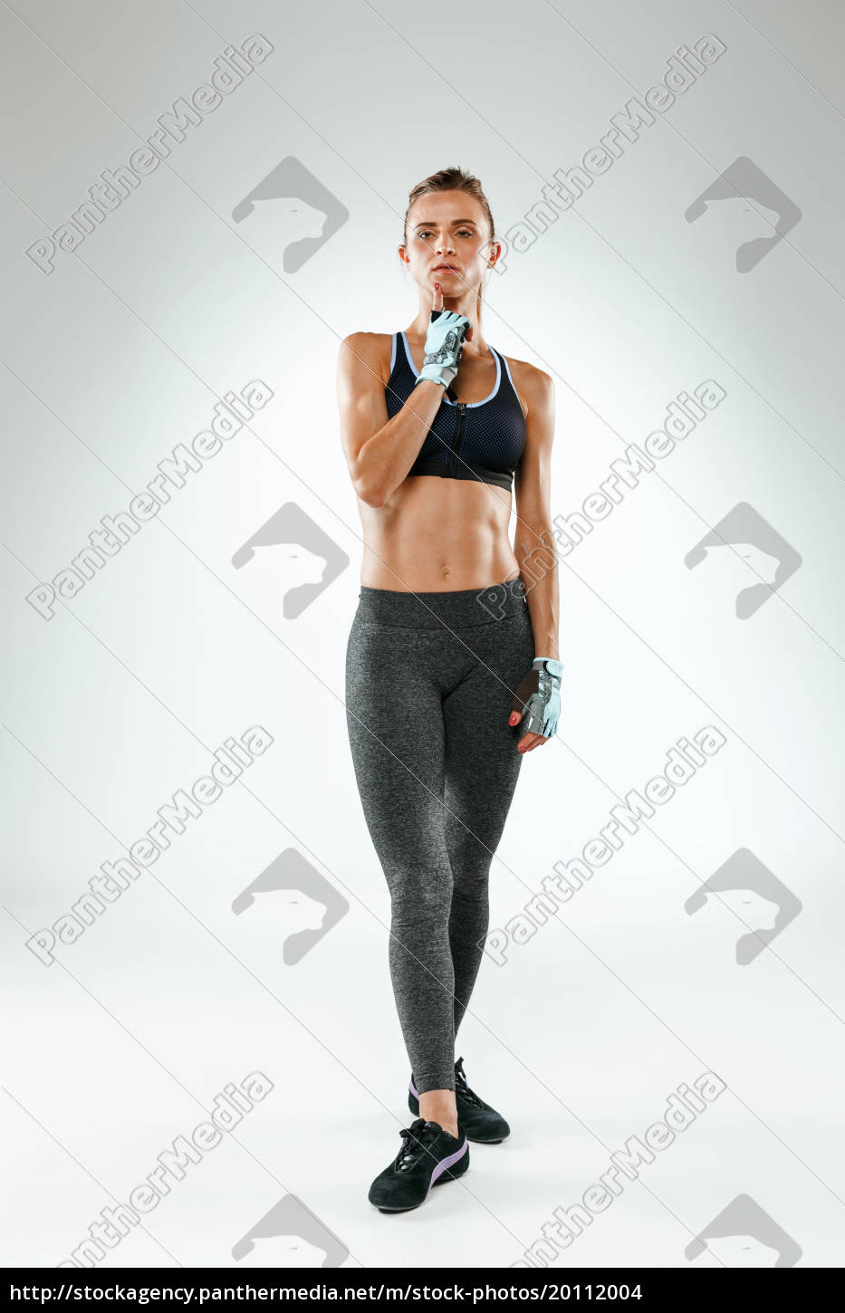 muscular, young, woman, athlete, on, white - 20112004