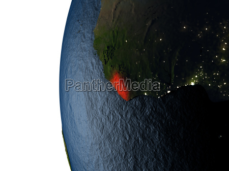 sunset over liberia from space