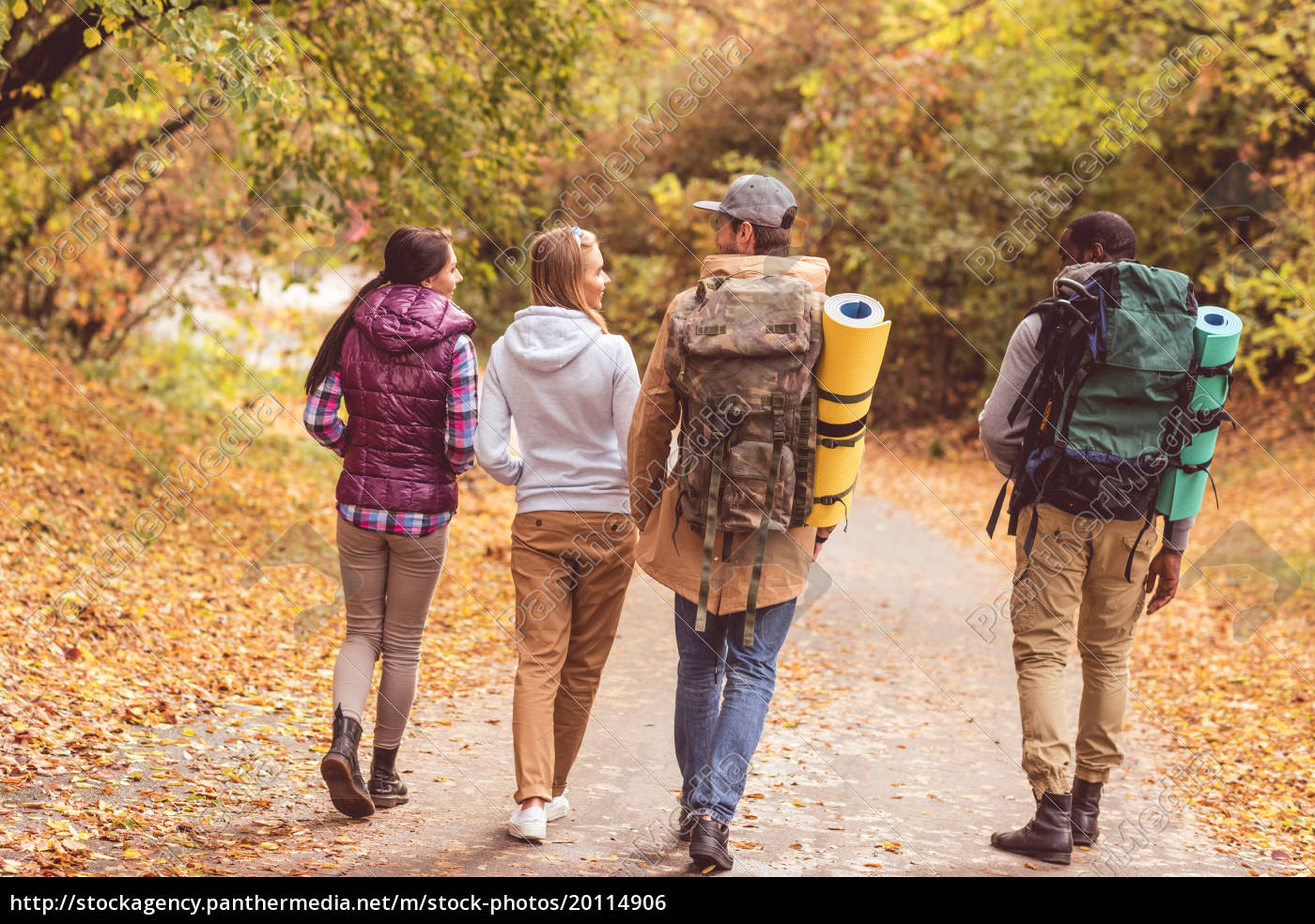 young, backpackers, in, autumn, forest - 20114906