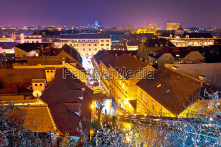 zagreb rooftops evening advent view