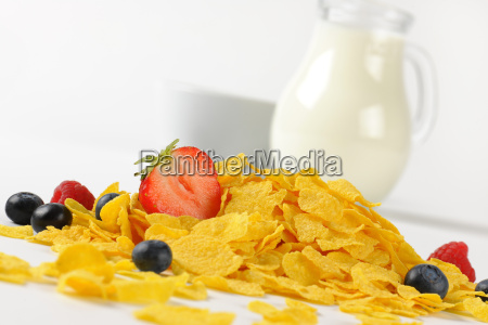 jug og milk and corn flakes