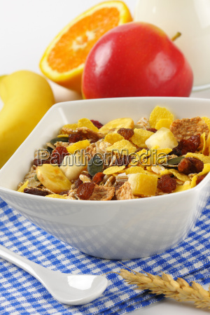 bowl, of, mixed, breakfast, cereals - 20117017