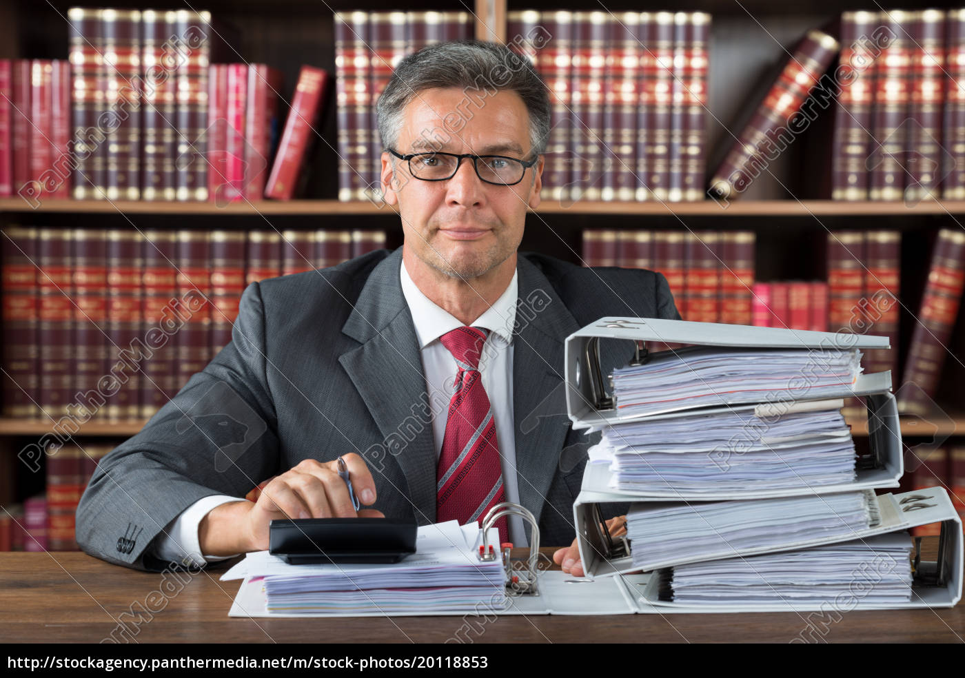 businessman, checking, invoice, with, calculator, at - 20118853