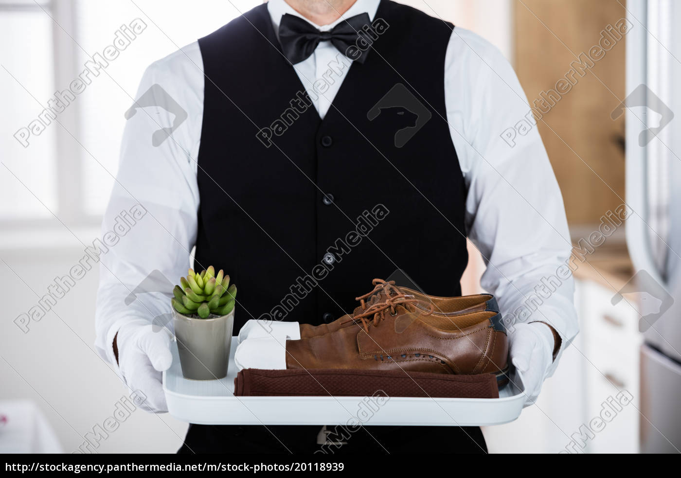 butler, carrying, pair, of, brown, shoes - 20118939