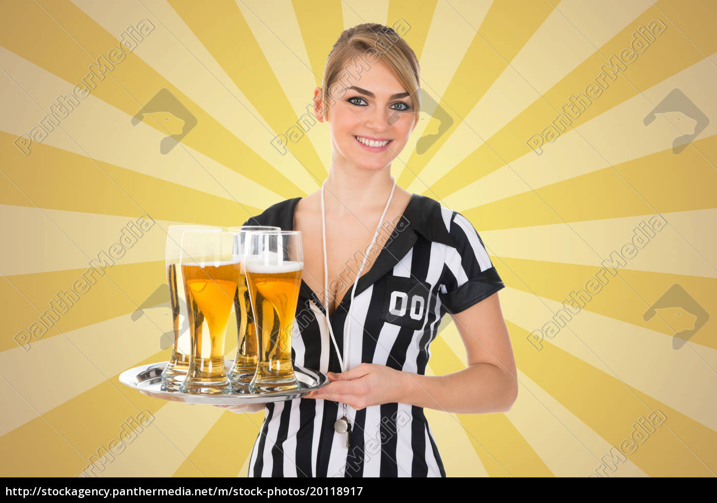 female, referee, holding, tray, with, beer - 20118917