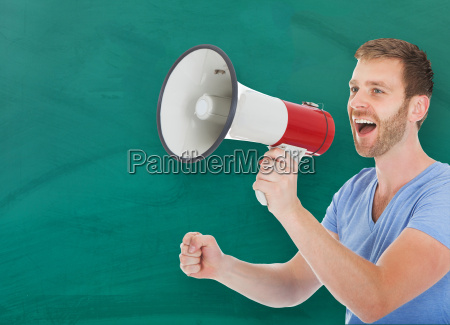 man, announcing, on, megaphone, in, classroom - 20118803