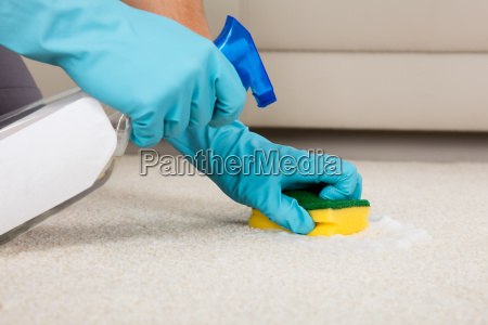 person, cleaning, carpet, with, detergent, spray - 20118025