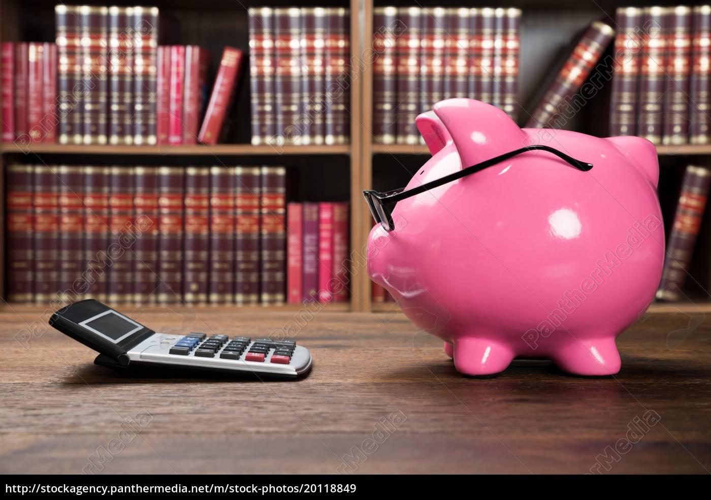 pink, piggybank, and, calculator - 20118849
