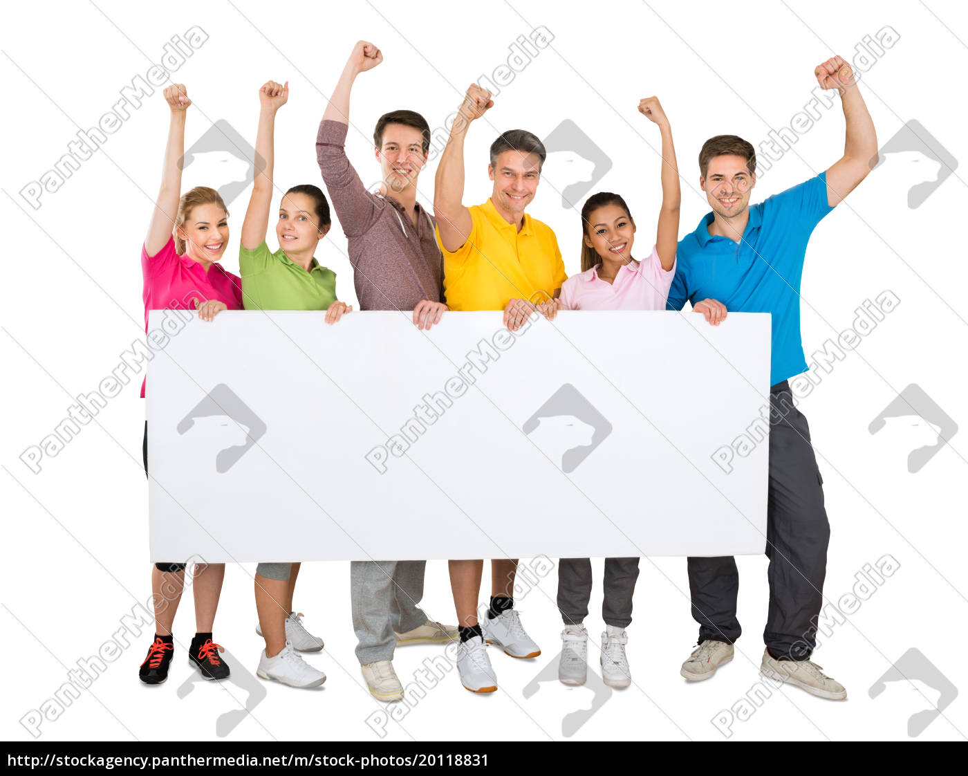 successful, people, holding, blank, banner - 20118831