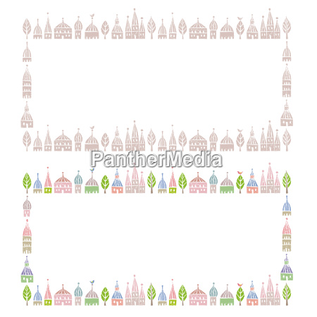 decorated frames with pointed roofed cute
