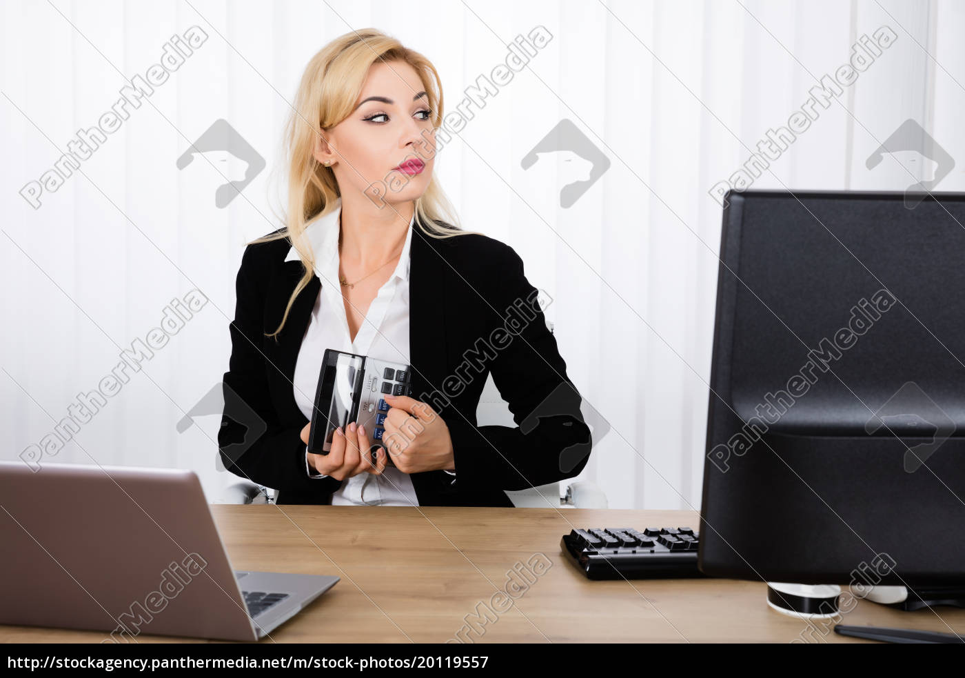 businesswoman, stealing, a, calculator - 20119557
