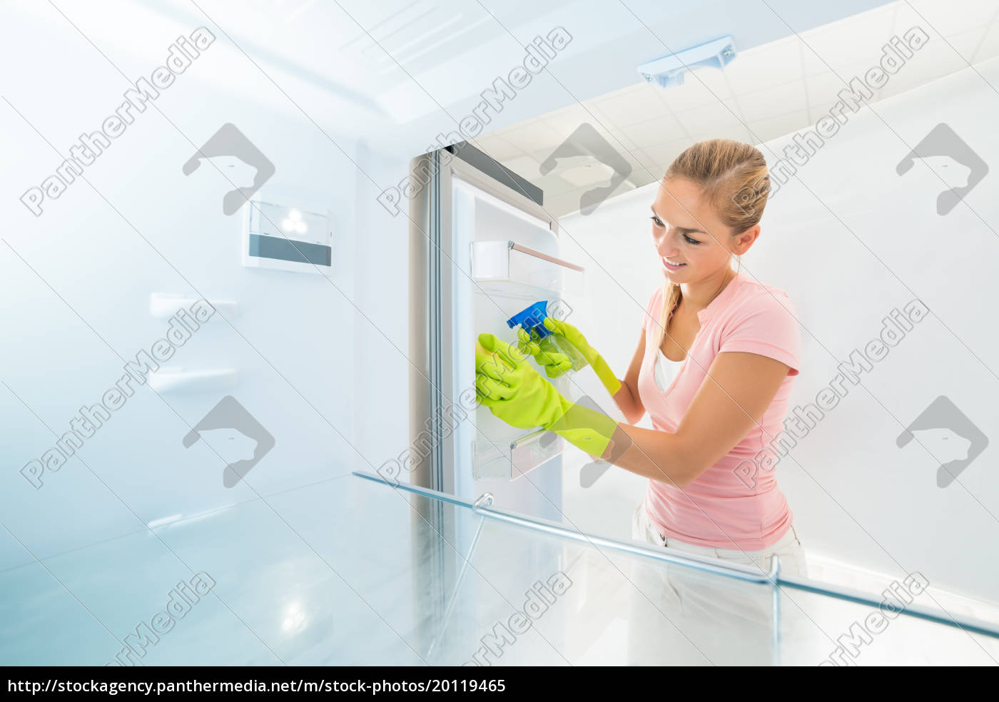 smiling, woman, cleaning, inside, the, refrigerator - 20119465