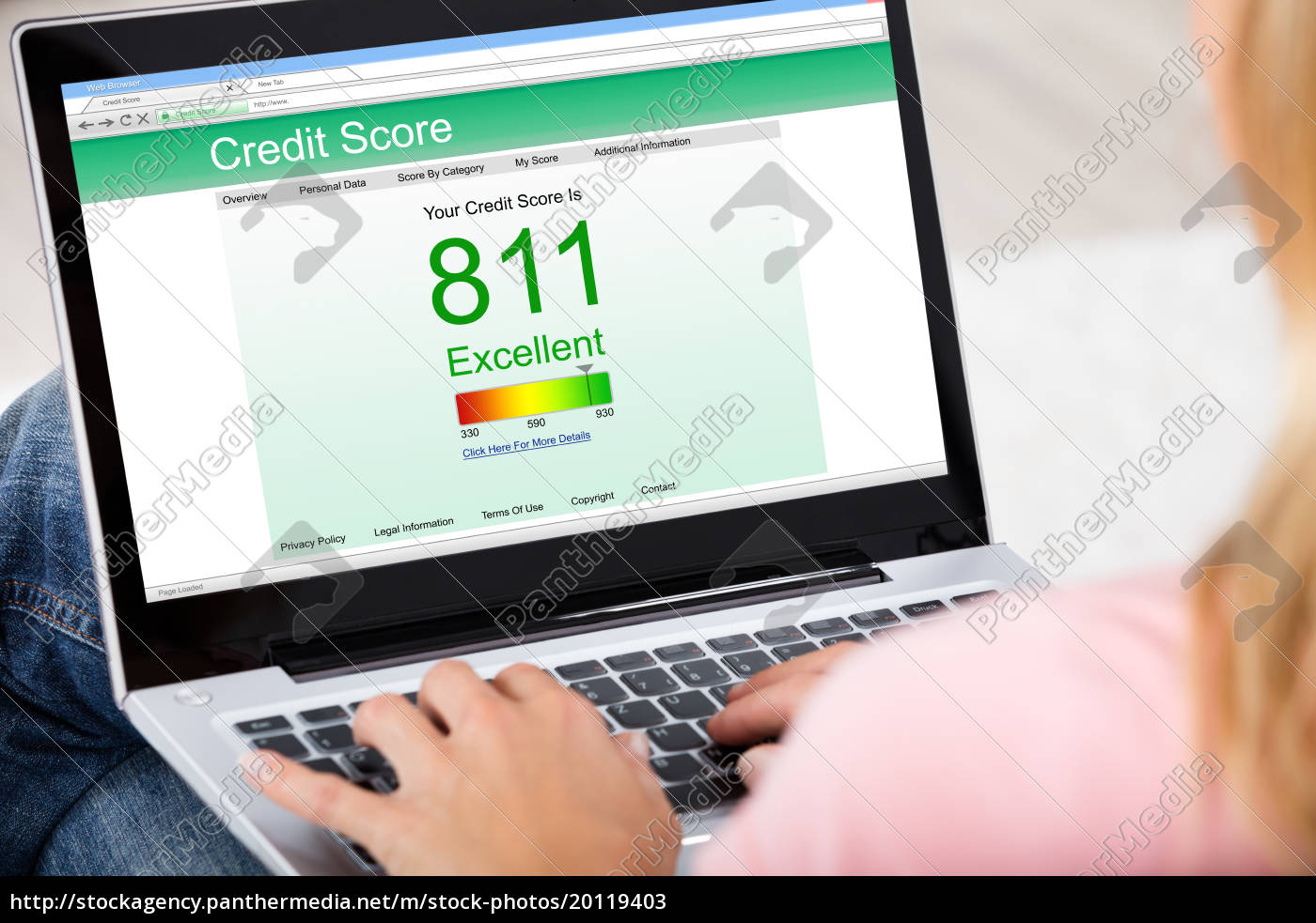 woman, checking, credit, score, online, on - 20119403