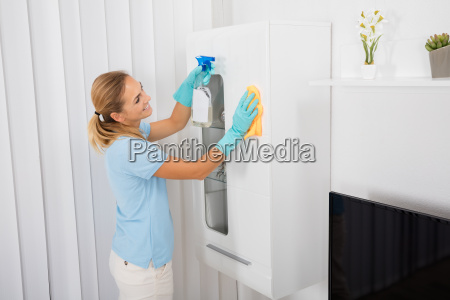 woman, cleaning, furniture, at, home - 20119429
