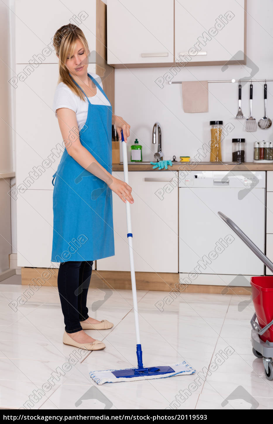 woman, cleaning, kitchen, floor, with, mop - 20119593