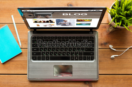 laptop computer with blog web page