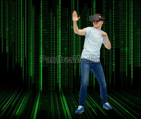man in virtual reality headset or