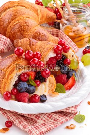fresh, croissants, and, honey. - 20129243