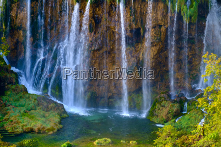 beautiful waterfall at plitvice national park