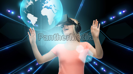 woman in virtual reality headset or