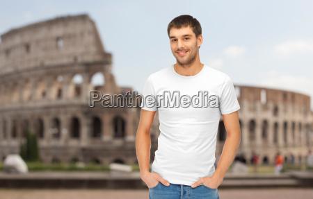 happy man in blank white t
