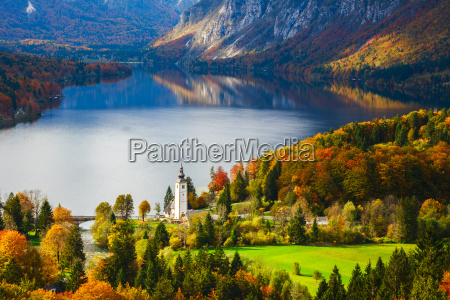 aerial view of bohinj lake in