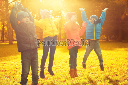 group of happy children having fun