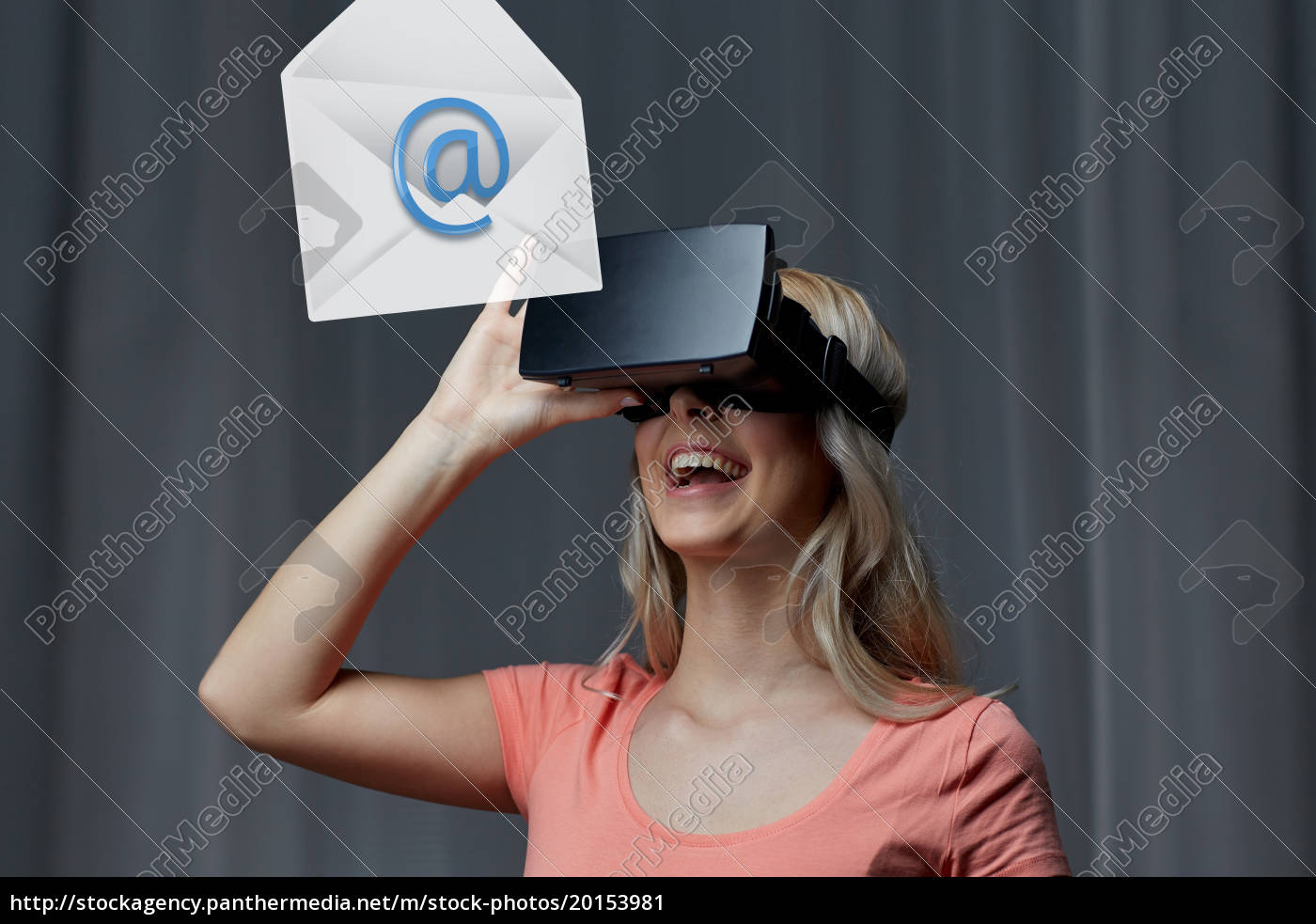 woman, in, virtual, reality, headset, or - 20153981
