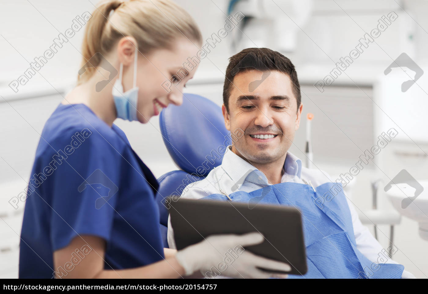 female, dentist, with, tablet, pc, and - 20154757