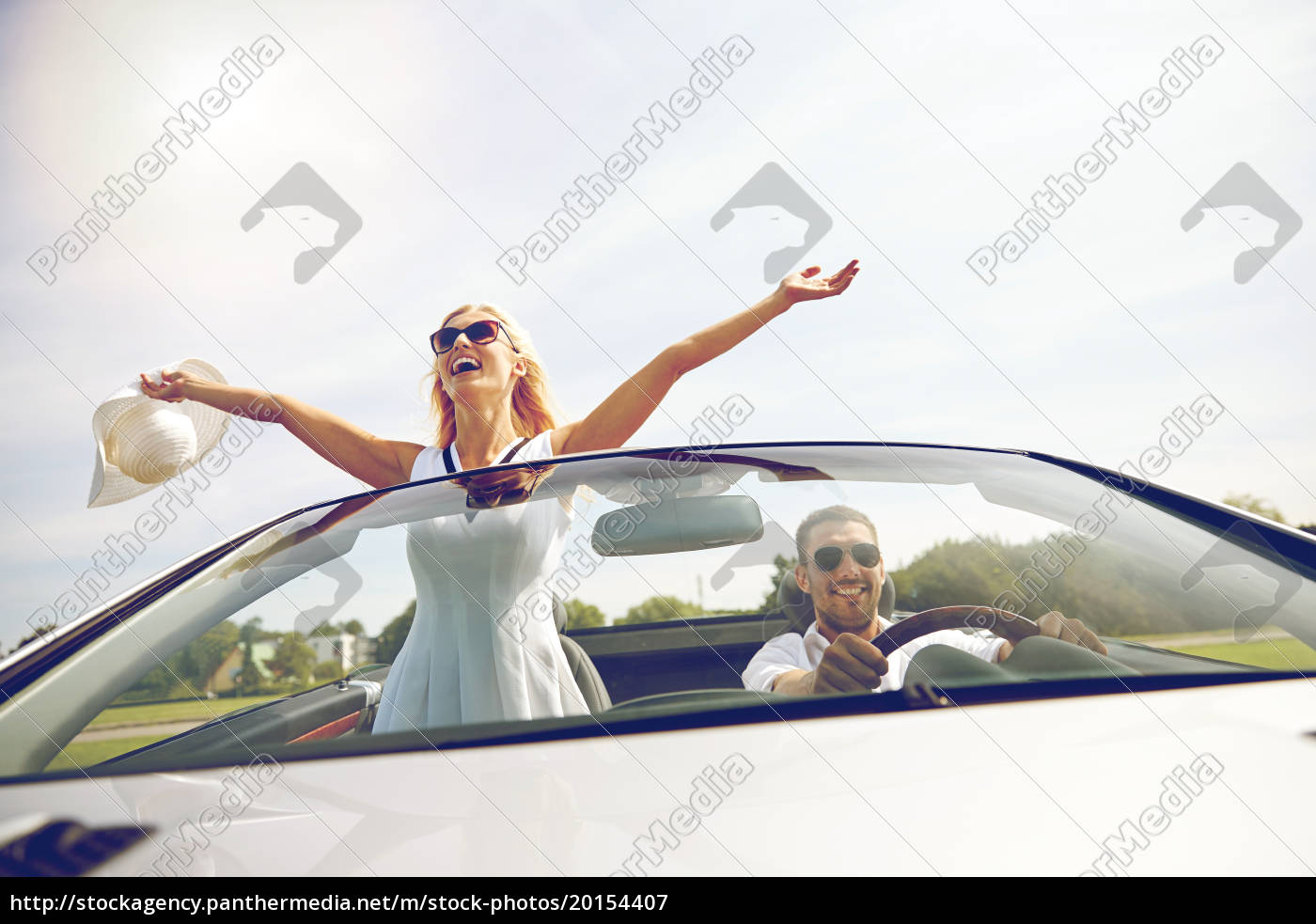 happy, man, and, woman, driving, in - 20154407
