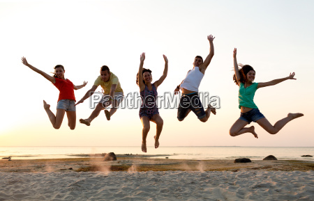 smiling, friends, dancing, and, jumping, on - 20154367