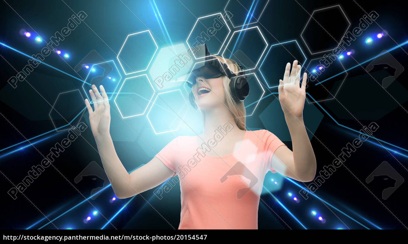 woman, in, virtual, reality, headset, or - 20154547