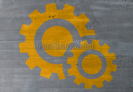 gears concept on cement ruktur background