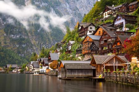 little famous village hallstatt in austrian