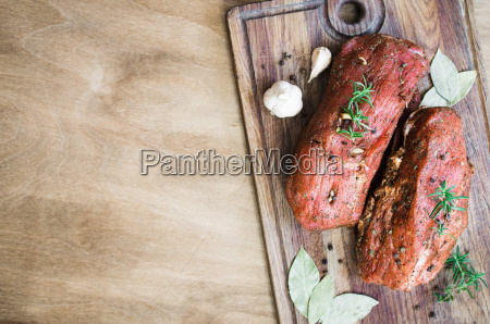 fresh raw marinated meat on a